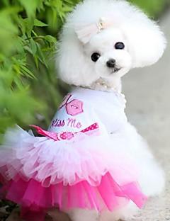 billiga Hundkläder-Hund / Katt / Små pälsdjur Klänningar Hundkläder Hjärta / Kärlek / Läppar Blå / Rosa Bomull Jacquard / Cotton Kostym För husdjur Dam Sport och utomhus / Klänningar & Kjolar
