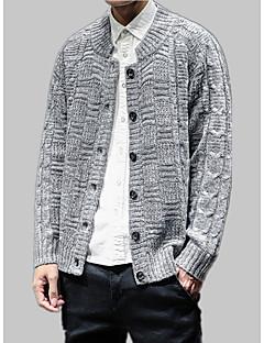 tanie Męskie swetry i swetry rozpinane-Męskie Okrągły dekolt Luźna Rozpinany Jendolity kolor Długi rękaw