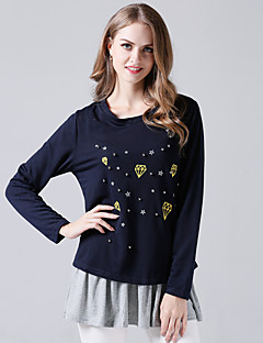 baratos Moletons com Capuz e Sem Capuz Femininos-conjunto de activewear de algodão de manga comprida para mulher - decote redondo em cor sólida
