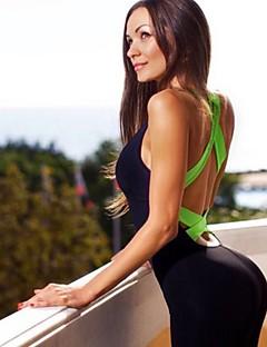 billiga Träning-, jogging- och yogakläder-Dam Korsade ryggremmar Jumpsuit - Gul, Fuchsia, Grön sporter Färgblock Hög midja Kroppsdräkt Yoga, Pilates, Dans Ärmlös Sportkläder Kompression, Svettavvisande, Butt Lift Hög Elasisitet