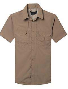 tanie Koszulki turystyczne-Męskie T-shirt turystyczny Na wolnym powietrzu Lato Szybkie wysychanie, Anatomiczny kształt, Oddychalność T-shirt Casual, Ćwiczenia na zewnątrz, Wspinaczka górska Zielony Szary Khaki