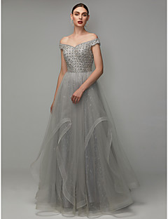 billige Paljettkjoler-A-linje Løse skuldre Gulvlang Blonder / Tyll Formell kveld Kjole med Perlearbeid av TS Couture®