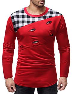 billige Herrers Mode Beklædning-Herre - Ruder Udskæring / Patchwork Basale T-shirt