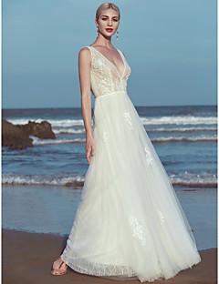 billiga Brudklänningar-A-linje V-hals Golvlång Spets / Tyll Bröllopsklänningar tillverkade med Applikationsbroderi / Spets av LAN TING BRIDE® / Vacker i svart