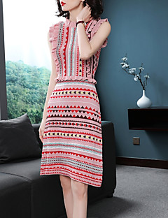 Χαμηλού Κόστους Γυναικεία Φορέματα-Γυναικεία Λεπτό Πλεκτά Φόρεμα Πάνω από το Γόνατο Όρθιος Γιακάς / Φθινόπωρο
