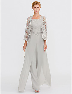 Jumpsuits Pantsuit Straps Floor Length Chiffon Corded Lace Mother Of The Bride Dress With Liques Split Front By Lan Ting