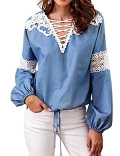 billige T-shirt-Dame - Ensfarvet Blonder Basale T-shirt
