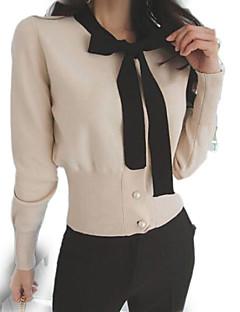 baratos Moletons com Capuz e Sem Capuz Femininos-camisola de manga comprida para senhora - cor sólida, gola redonda