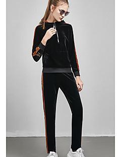 levne Dámské dvoudílné obleky-Dámské Kapuce Proužky Kalhoty