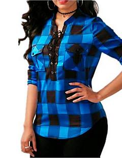 preiswerte Damen-Oberteile-Damen Gestreift - Grundlegend Hemd mit Schnürung Blau & Weiß / Schwarz & Rot