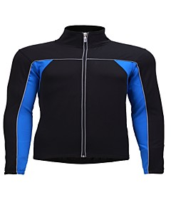 billiga Cykling-Jaggad Herr Långärmad Cykeltröja - Blå Ensfärgat Cykel Tröja Överdelar, Andningsfunktion Nylon Elastisk