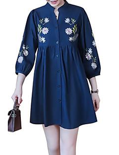 billige Skjorte-Høj krave Dame - Blomstret Skjorte