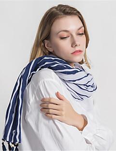 baratos Cachecóis da Moda-Mulheres Vintage / Férias Retângular - Franjas Listrado / Geométrica / Estampa Colorida Azul e Branco