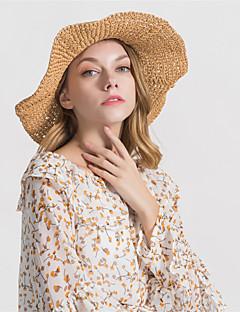 billige Trendy hatter-Dame Grunnleggende Stråhatt Ensfarget