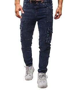billige Herremote og klær-Herre Bomull Jeans Bukser Ensfarget