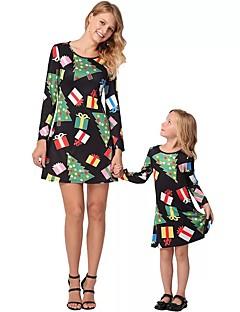 billige Sett med familieklær-Voksen / Barn / Baby Mamma og meg Geometrisk Langermet Kjole