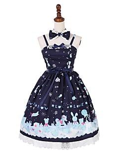 billiga Lolitamode-Söt Lolita Klassisk / Traditionell Lolita söt stil Dam Maskerad jsk / Jumper Kjol Cosplay Blå / Bläck blå Ärmlös Ärmlös Knälång Kostymer