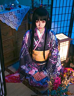 """billige Anime cosplay-Inspirert av Djevel Pike Enma Ai Anime  """"Cosplay-kostymer"""" Cosplay Klær / Japansk Kimono Blomstermønster Langermet Krage / Kimono Frakke / Belte / bånd Til Dame"""