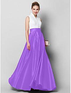 billiga Balklänningar-A-linje Hög hals Golvlång Spets / Satäng Färgblock Formell kväll Klänning med Plisserat av TS Couture®