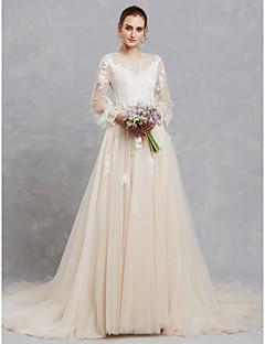 billiga Brudklänningar-A-linje Illusion Halsband Hovsläp Spets / Tyll Bröllopsklänningar tillverkade med Applikationsbroderi / Spets av LAN TING BRIDE®