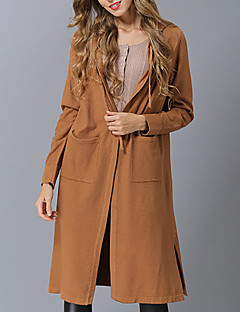 baratos Suéteres de Mulher-Mulheres Básico / Moda de Rua Carregam - Sólido, Fenda