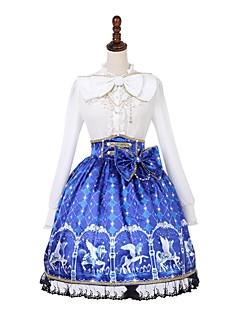 billiga Lolitamode-Söt Lolita Klassisk / Traditionell Lolita Prinsess Lolita Casual Lolita Dam Kjolar Blus / Skjorta Maskerad Cosplay Blå Biskop Långärmad Knälång Halloweenkostymer