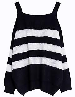 baratos Suéteres de Mulher-Mulheres Básico Pulôver - Sólido / Listrado