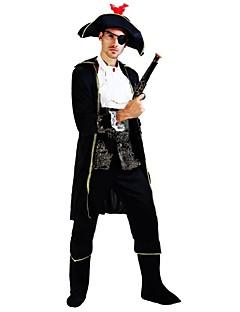 billige Halloweenkostymer-Pirates of the Caribbean Kostume Herre Voksen Videregående skole Halloween Halloween Karneval Maskerade Festival / høytid Drakter Svart Ensfarget Halloween