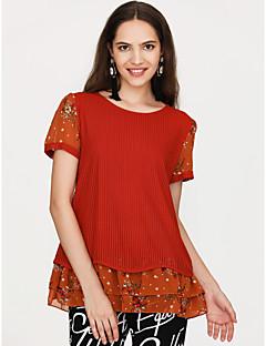 Χαμηλού Κόστους Γυναικείες Μπλούζες-γυναικεία μπλούζα - λουλούδι στρογγυλό λαιμό