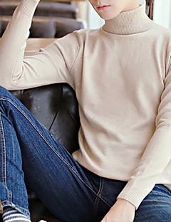 baratos Suéteres & Cardigans Masculinos-Homens Manga Longa Pulôver - Sólido