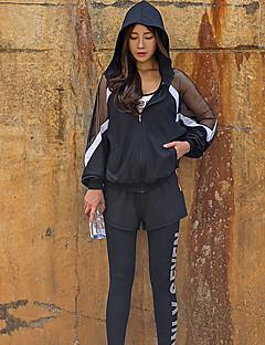 billiga Träning-, jogging- och yogakläder-Dam Scoop Neck Genomskinlig Yoga Suit - Silver / Svart sporter Bokstav Hög midja Yoga, Fitness, Gym Sportkläder Lättvikt, Andningsfunktion, Snabb tork Elastisk Skinny, Ledig
