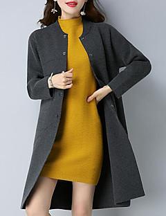 baratos Suéteres de Mulher-Mulheres Para Noite Manga Longa Longo Carregam - Sólido / Colarinho Chinês