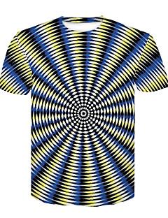 baratos -Homens Camiseta - Bandagem Básico / Moda de Rua Estampado, Estampa Colorida Decote Redondo Preto & Branco / Manga Curta