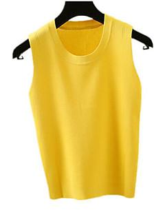 baratos Suéteres de Mulher-Mulheres Sem Manga Delgado Colete - Sólido / Decote U