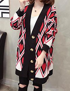 baratos Suéteres de Mulher-Mulheres Diário Básico Estampa Colorida Manga Longa Padrão Carregam, Decote U Branco / Preto Tamanho Único