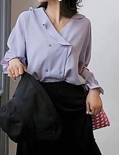 billige Bluse-V-hals Dame - Ensfarvet Bluse