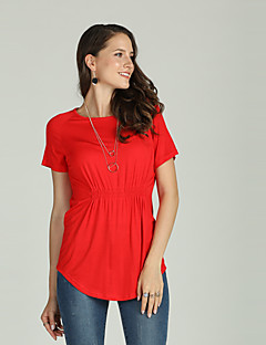 Χαμηλού Κόστους Γυναικείες Μπλούζες-Γυναικεία T-shirt Βασικό / Κομψό στυλ street Μονόχρωμο Πλισέ