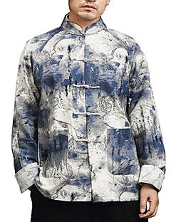 billige Herre Toppe-Herre - Farveblok Hør Skjorte / Høj krave / Langærmet