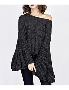 tanie Swetry damskie-Damskie Wyjściowe Na jedno ramię Luźna Pulower Jendolity kolor Długi rękaw