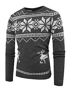 tanie Męskie swetry i swetry rozpinane-Męskie Podstawowy Okrągły dekolt Luźna Pulower Wielokolorowa Długi rękaw