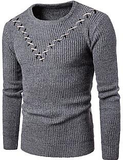 baratos Suéteres & Cardigans Masculinos-Homens Básico Pulôver - Listrado / Geométrica