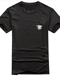 tanie Koszulki turystyczne-Męskie T-shirt turystyczny Na wolnym powietrzu Wiosna / Lato Szybkie wysychanie, Oddychalność, Odporny na UV T-shirt Casual, Ćwiczenia na zewnątrz, Turystyczne Czarny Zielony