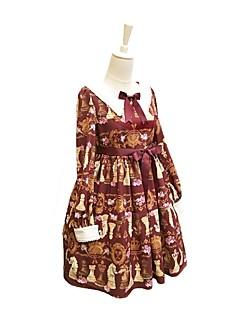 billiga Lolitaklänningar-Söt Lolita Casual Lolita Klänning Modern Stil Rokoko Dam Klänningar Maskerad Cosplay Röd / Blå Biskop Långärmad Knälång Kostymer