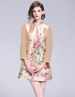 Χαμηλού Κόστους Βίντατζ Βασίλισσα-Γυναικεία Βίντατζ / Κινεζικό στυλ Γραμμή Α Φόρεμα - Φλοράλ, Κεντητό Πάνω από το Γόνατο