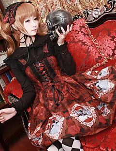 billiga Lolitamode-Söt Lolita Snörning Chiffong Dam jsk / Jumper Kjol Cosplay Röd / Blå / Bläck blå Ärmlös Knälång Halloweenkostymer