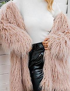 billiga Dampälsar och läder-Enfärgad Fur Coat Dam V-hals Fuskpäls