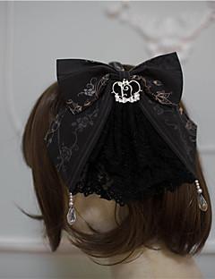 billiga Lolitaaccessoarer-Lolita Accessoarer Vintage Rokoko Dam Svart / Brun / Blå lolita tillbehör Tryck Sydd spets Rosett Huvudbonad Polyster Halloweenkostymer