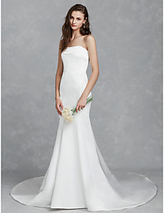 billiga Brudklänningar-Trumpet / sjöjungfru Axelbandslös Kapellsläp Satäng Bröllopsklänningar tillverkade med Krusad av LAN TING BRIDE®