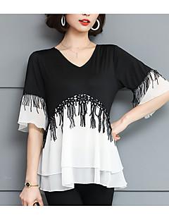 Χαμηλού Κόστους Γυναικείες Μπλούζες-Γυναικεία Μπλούζα Βαμβάκι Συνδυασμός Χρωμάτων Λαιμόκοψη V