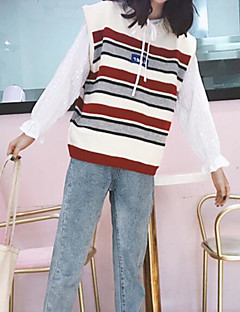 tanie Swetry damskie-Damskie Wyjściowe Szczupła Kamizelka Kolorowy blok Długi rękaw
